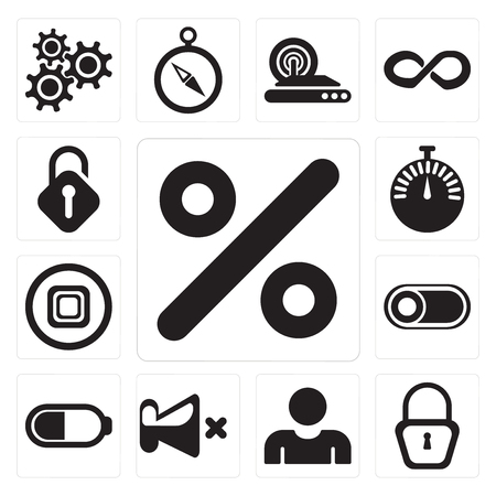 Set Of 13 simple editable icons such as Percent, Locked, User, Mute, Battery, Switch, Stop, Stopwatch, Unlocked, web ui icon pack