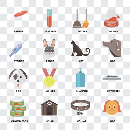 Set Of 16 icons such as Dog, Collar, Kennel, Canned food, Litter box, Frisbee, Syringe, Cat on transparent background, pixel perfect