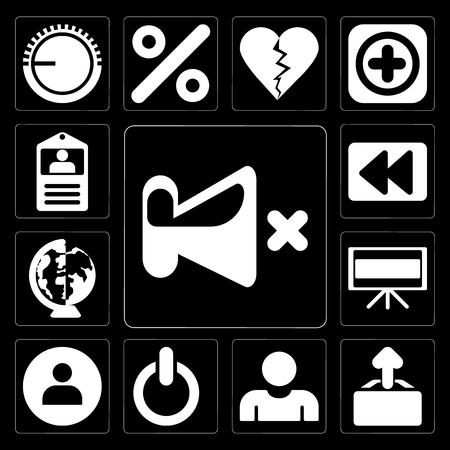 Set Of 13 simple editable icons such as Mute, Upload, User, Switch, Television, Worldwide, Rewind, Id card on black background
