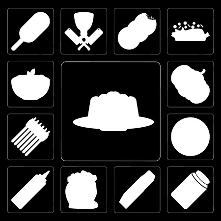 Set Of 13 simple editable icons such as Jelly, Honey, Butter, Flour, Mustard, Pizza, Asparagus, Pumpkin, Pasta on black background