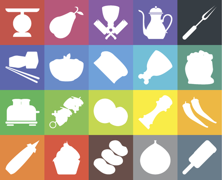 Set Of 20 icons such as Ice cream, Fig, Potatoes, Cupcake, Mustard, Fork, Pepper, Coconut, Toaster, Pasta, Ham, Scale, Flour, Butcher, web UI editable icon pack, pixel perfect