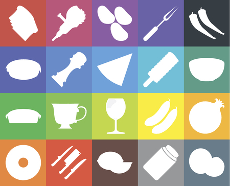 Set Of 20 icons such as Coconut, Pickles, Lime, Knives, Doughnut, Pepper, Pomegranate, Glass, Pie, Ice cream, Toast, Bowl, Potatoes, web UI editable icon pack, pixel perfect Çizim