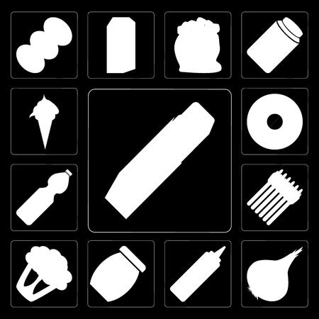 Set Of 13 simple editable icons such as Butter, Onion, Mustard, Jam, Cauliflower, Asparagus, Water, Doughnut, Ice cream on black background