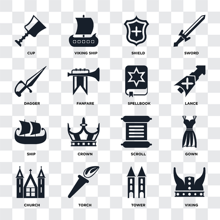 Set Of 16 icons such as Viking, Tower, Torch, Church, Gown, Cup, Dagger, Ship, Spellbook on transparent background, pixel perfect Stock Vector - 111926122