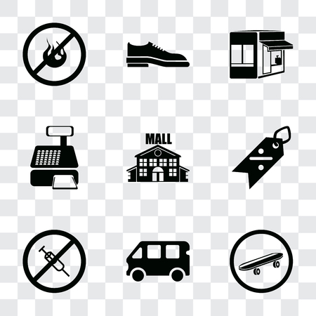 Set Of 9 simple transparency icons such as Skateboard, Bus, No drugs, Discount, Mall, Cashier machine, Store, Shoes, fire, can be used for mobile, pixel perfect vector icon pack on transparent Illustration