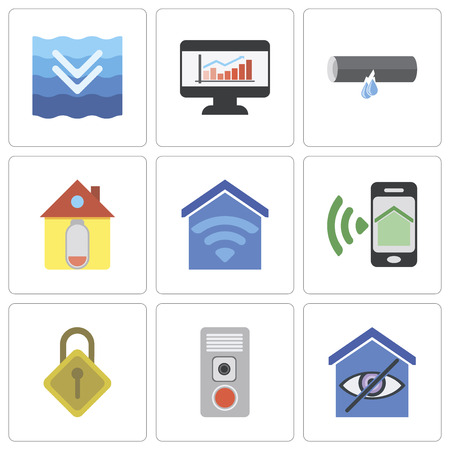 Set Of 9 simple editable icons such as Smart home, Intercom, Locking, Smartphone, Home, Leak, Dashboard, Deep, can be used for mobile, pixel perfect vector icon pack