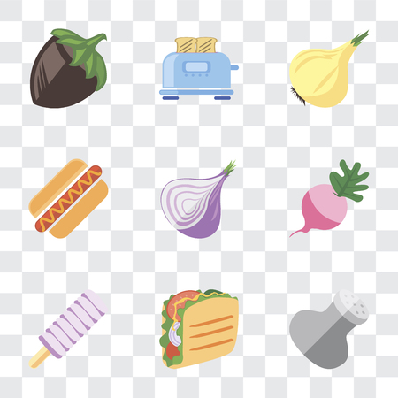 Set Of 9 simple transparency icons such as Salt, Taco, Ice cream, Radish, Onion, Hot dog, Toaster, Hazelnut, can be used for mobile, pixel perfect vector icon pack on transparent background Çizim