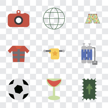 Set Of 9 simple transparency icons such as Postage, Cocktail, Ball, Oxygen tank, Towel, Lifejacket, Swimsuit, Globe, Camera, can be used for mobile, pixel perfect vector icon pack on transparent