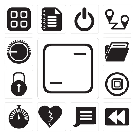 Set Of 13 simple editable icons such as Frame, Rewind, Notification, Dislike, Stopwatch, Stop, Locked, Folder, Volume control, web ui icon pack