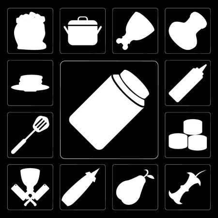 Set Of 13 simple editable icons such as Jam, Apple, Pear, Mustard, Butcher, Sushi, Spatula, Pancakes on black background