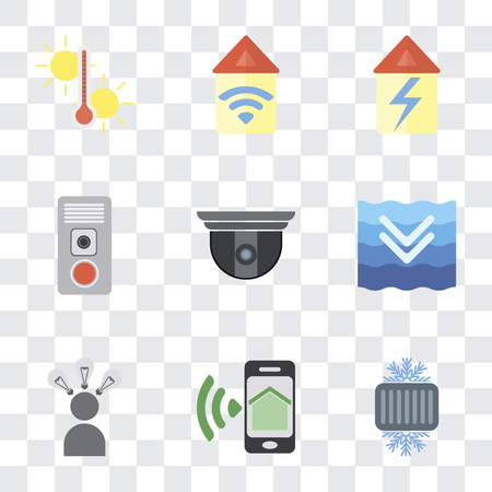 Set Of 9 simple transparency icons such as Cool, Smartphone, Smart, Deep, Security camera, Intercom, Home, Automation, Temperature, can be used for mobile, pixel perfect vector icon pack on Ilustração