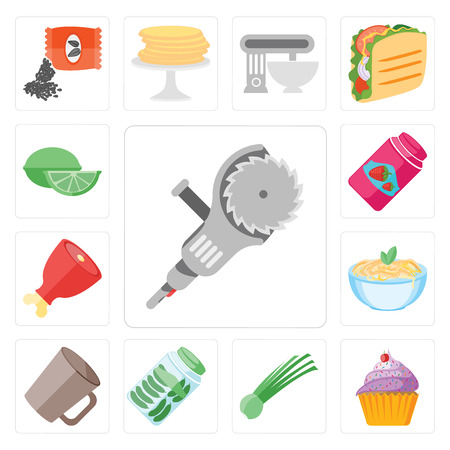 Set Of 13 simple editable icons such as Grinder, Cupcake, Chives, Pickles, Mug, Pasta, Ham, Jam, Lime, web ui icon pack