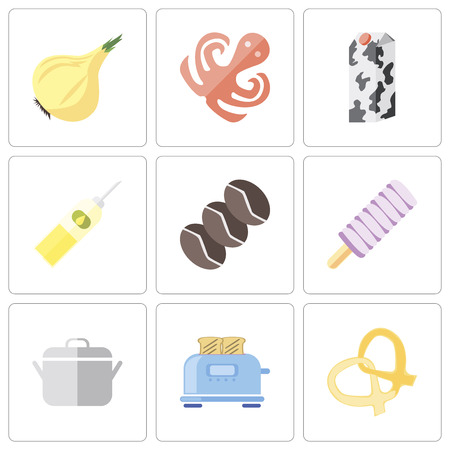 Set Of 9 simple editable icons such as Pretzel, Toaster, Pot, Ice cream, Coffee, Oil, Milk, Octopus, Onion, can be used for mobile, pixel perfect vector icon pack