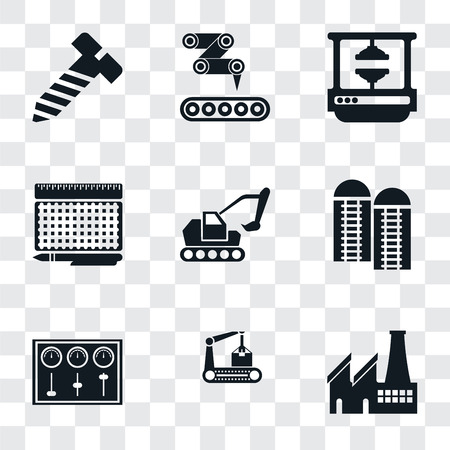 Set Of 9 simple transparency icons such as Factory, Conveyor, Control panel, Silo, Excavator, print, Machine press, Bolt, can be used for mobile, pixel perfect vector icon pack on