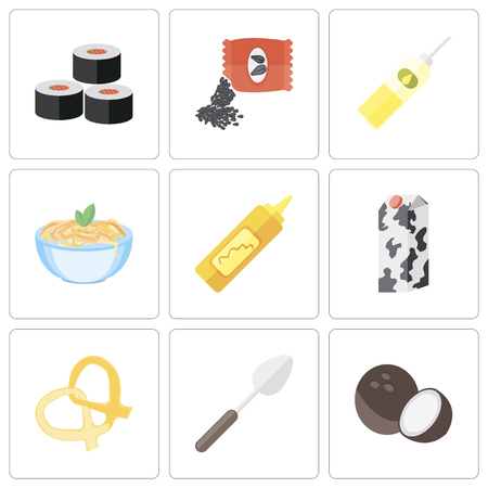 Set Of 9 simple editable icons such as Coconut, Spoon, Pretzel, Milk, Mustard, Pasta, Oil, Seeds, Sushi, can be used for mobile, pixel perfect vector icon pack Standard-Bild - 111926141