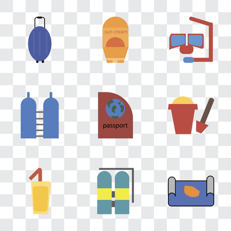 Set Of 9 simple transparency icons such as Map, Aqualung, Cocktail, Sand bucket, Passport, Oxygen, Snorkel, Sun protection, Luggage, can be used for mobile, pixel perfect vector icon pack on
