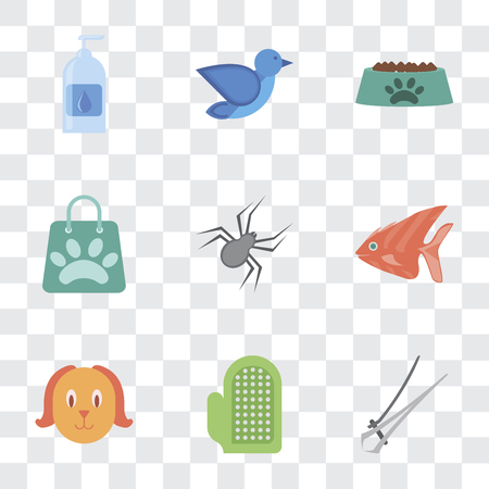 Set Of 9 simple transparency icons such as Nail trimmer, Glove, Dog, Fish, Spider, Shopping bag, Bowl, Bird, Drops, can be used for mobile, pixel perfect vector icon pack on transparent background