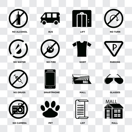 Set Of 16 icons such as Mall, List, Pet, No camera, Glasses, alcohol, water, drugs, Shirt on transparent background, pixel perfect Banque d'images - 111926146