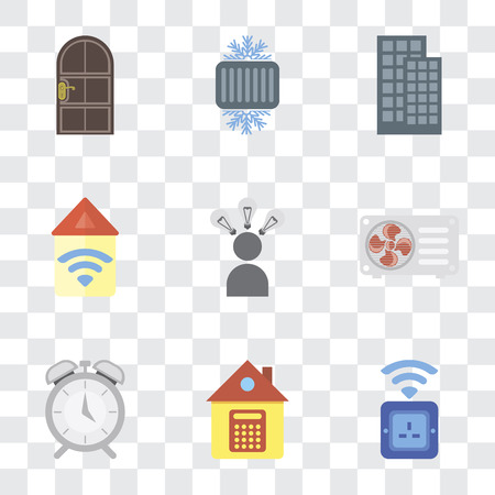 Set Of 9 simple transparency icons such as Socket, Home, Alarm, Air conditioner, Smart, Automation, Smart home, Cool, Door, can be used for mobile, pixel perfect vector icon pack on transparent