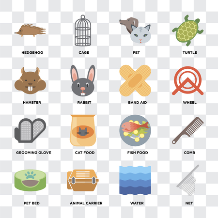 Set Of 16 icons such as Net, Water, Animal carrier, Pet bed, Comb, Hedgehog, Hamster, Grooming glove, Band aid on transparent background, pixel perfect Stock Illustratie