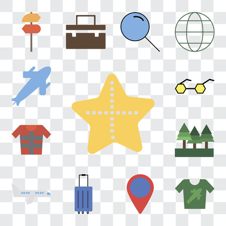Set Of 13 transparent editable icons such as Starfish, Shirt, Location, Luggage, Airplane, Forest, Lifejacket, Sunglasses, Plane, web ui icon pack, transparency set