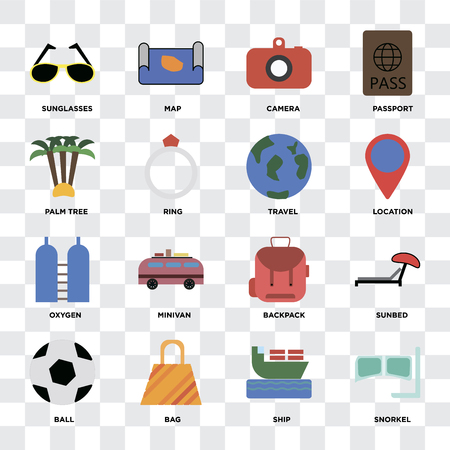 Set Of 16 icons such as Snorkel, Ship, Bag, Ball, Sunbed, Sunglasses, Palm tree, Oxygen, Travel on transparent background, pixel perfect