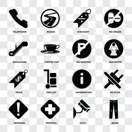 Set Of 16 icons such as Jeans, Cctv, Hospital, Warning, No plug, Telephone, Escalator, Price, parking on transparent background, pixel perfect