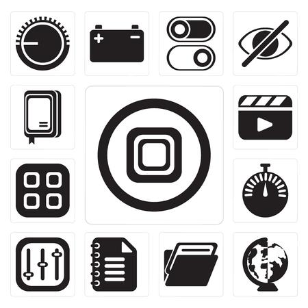 Conjunto de 13 iconos editables sencillos como Detener, En todo el mundo, Carpeta, Bloc de notas, Controles, Cronómetro, Menú, Reproductor de vídeo, Cuaderno, paquete de iconos de interfaz de usuario web