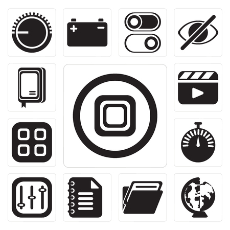 Set Of 13 simple editable icons such as Stop, Worldwide, Folder, Notepad, Controls, Stopwatch, Menu, Video player, Notebook, web ui icon pack
