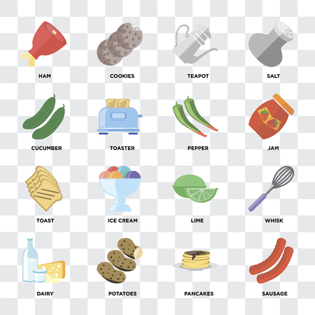 Set Of 16 icons such as Sausage, Pancakes, Potatoes, Dairy, Whisk, Ham, Cucumber, Toast, Pepper on transparent background, pixel perfect Illustration