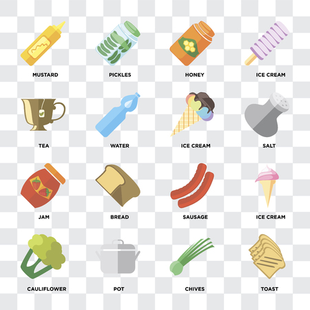 Set Of 16 icons such as Toast, Chives, Pot, Cauliflower, Ice cream, Mustard, Tea, Jam on transparent background, pixel perfect