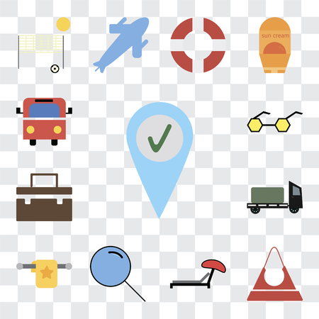 Set Of 13 transparent editable icons such as Check in, Purse, Sunbed, Search, Towel, Trailer, Suitcase, Sunglasses, Bus, web ui icon pack, transparency set