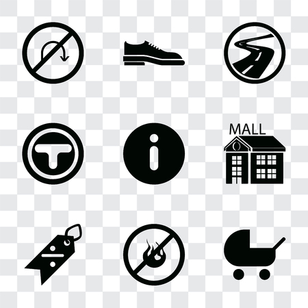 Set Of 9 simple transparency icons such as Baby carriage, No fire, Discount, Mall, Information, Junction, Roads, Shoes, turn, can be used for mobile, pixel perfect vector icon pack on transparent