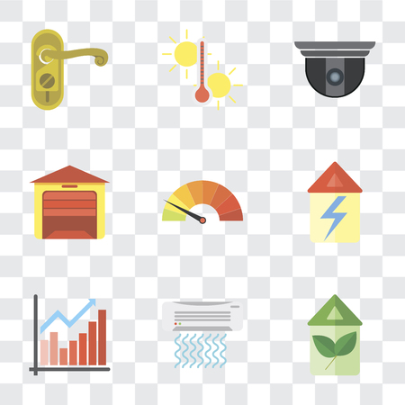 Set di 9 semplici icone di trasparenza come Eco home, condizionatore d'aria, grafico, casa, contatore, garage, telecamera di sicurezza, temperatura, maniglia della porta, può essere utilizzato per dispositivi mobili, pacchetto di icone vettoriali pixel perfetto su Vettoriali