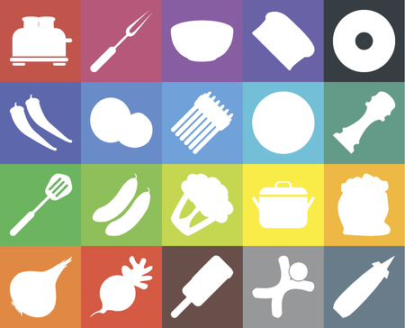 Set Of 20 icons such as Mustard, Gingerbread, Ice cream, Radish, Onion, Doughnut, Flour, Cauliflower, Spatula, Coconut, Pizza, Toaster, Pepper, Bowl, web UI editable icon pack, pixel perfect