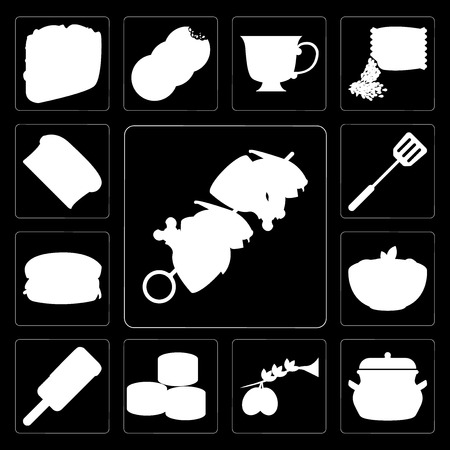 Set Of 13 simple editable icons such as Kebab, Pot, Olives, Sushi, Ice cream, Pasta, Hamburguer, Spatula, Bread on black background