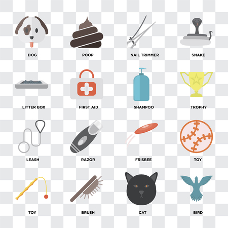 Set Of 16 icons such as Bird, Cat, Brush, Toy, Dog, Litter box, Leash, Shampoo on transparent background, pixel perfect Illustration