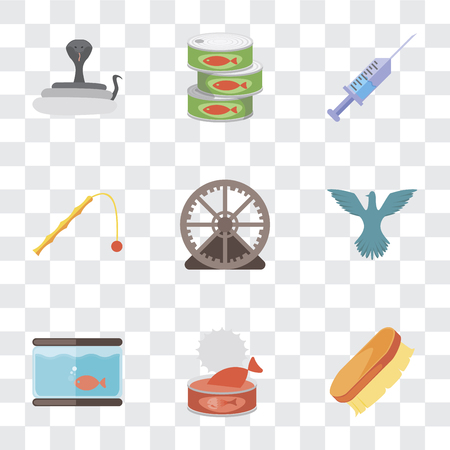 Set Of 9 simple transparency icons such as Brush, Cat food, Aquarium, Bird, Hamster ball, Toy, Syringe, Canned Snake, can be used for mobile, pixel perfect vector icon pack on transparent Foto de archivo - 111926169