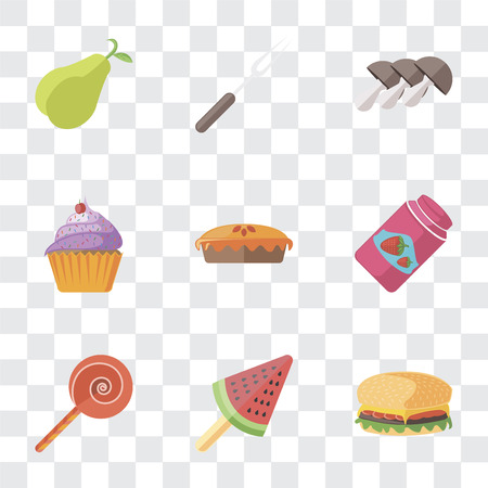 Set Of 9 simple transparency icons such as Hamburguer, Ice cream, Jawbreaker, Jam, Pie, Cupcake, Mushrooms, Fork, Pear, can be used for mobile, pixel perfect vector icon pack on transparent