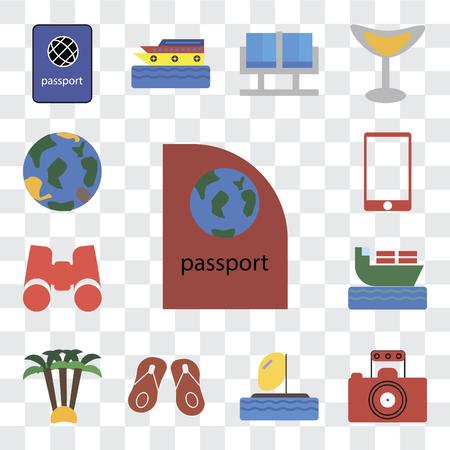 Set Of 13 transparent editable icons such as Passport, Photography, Parasailing, Flip flops, Palm tree, Ship, Binoculars, Phone, Globe, web ui icon pack, transparency set Illustration