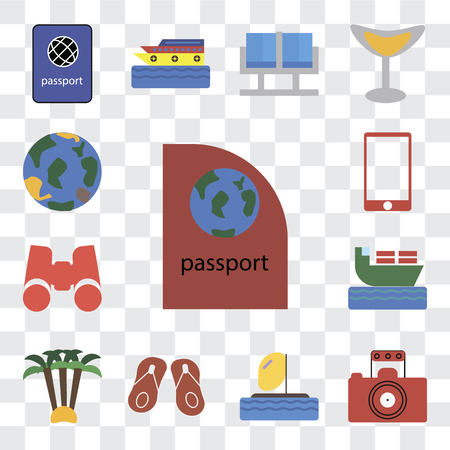 Set Of 13 transparent editable icons such as Passport, Photography, Parasailing, Flip flops, Palm tree, Ship, Binoculars, Phone, Globe, web ui icon pack, transparency set Illustration