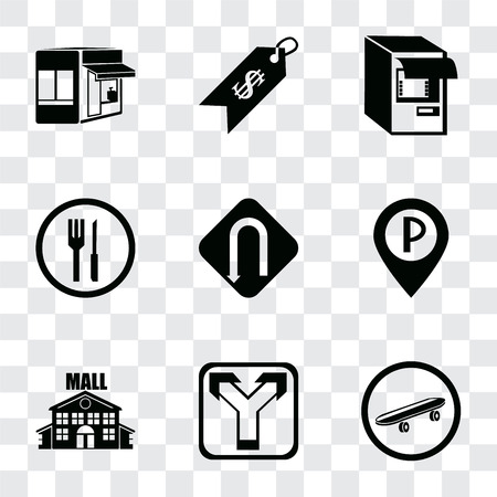 Set Of 9 simple transparency icons such as Skateboard, Junction, Mall, Parking, Turn, Restaurant, Atm, Price, Store, can be used for mobile, pixel perfect vector icon pack on transparent background Ilustrace