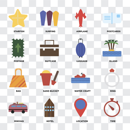 Set Of 16 icons such as Time, Location, Hotel, Minivan, Ring, Starfish, Postage, Bag, Luggage on transparent background, pixel perfect