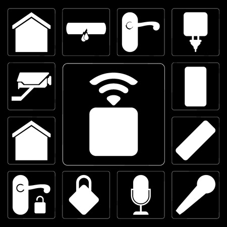 Set Of 13 simple editable icons such as Socket, Microphone, Voice control, Locking, Handle, Remote, Smart home, Cctv on black background Stock Vector - 111926177