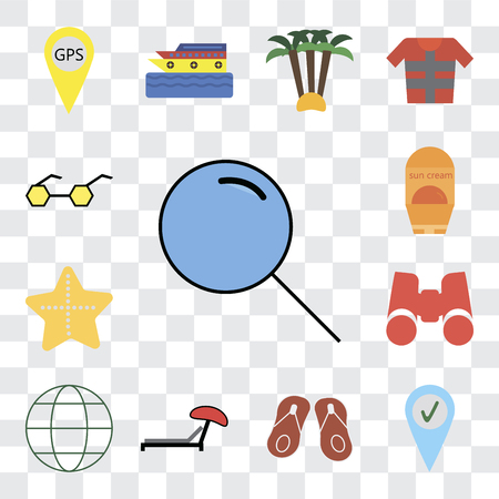 Set Of 13 transparent editable icons such as Search, Check in, Flip flops, Sunbed, Globe, Binoculars, Starfish, Sun protection, Sunglasses, web ui icon pack, transparency set Ilustrace