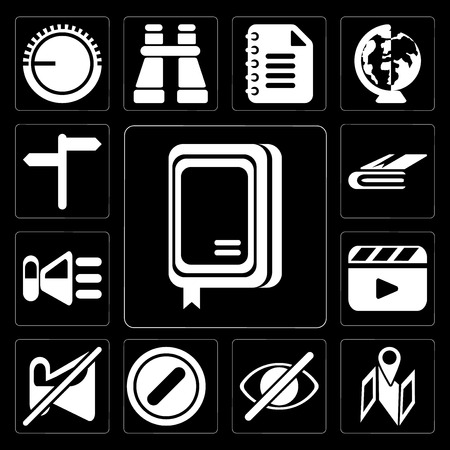 Set Of 13 simple editable icons such as Notebook, Map, Hide, Forbidden, Muted, Video player, Speaker, on black background