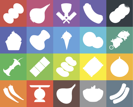 Set Of 20 icons such as Sausage, Pasta, Onion, Scale, Pepper, Cookies, Fig, Potatoes, Apple, Salt, Coconut, Coffee, Kebab, Butcher, web UI editable icon pack, pixel perfect Illustration