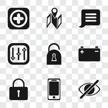 Set Of 9 simple transparency icons such as Hide, Smartphone, Locked, Battery, Controls, Notification, Map, Add, can be used for mobile, pixel perfect vector icon pack on transparent Illustration