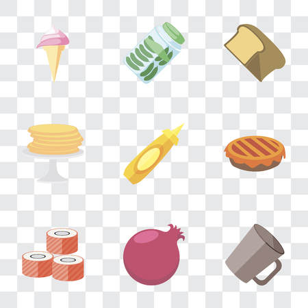 Set Of 9 simple transparency icons such as Mug, Pomegranate, Sushi, Pie, Mustard, Pancakes, Bread, Pickles, Ice cream, can be used for mobile, pixel perfect vector icon pack on transparent background