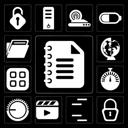 Set Of 13 simple editable icons such as Notepad, Locked, Lines, Video player, Volume control, Stopwatch, Menu, Worldwide, Folder on black background